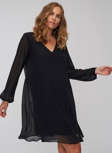 People By Fabrika V Yakalı Şifon Elbise Siyah